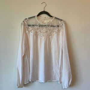 White High Neck Lace Accent Top